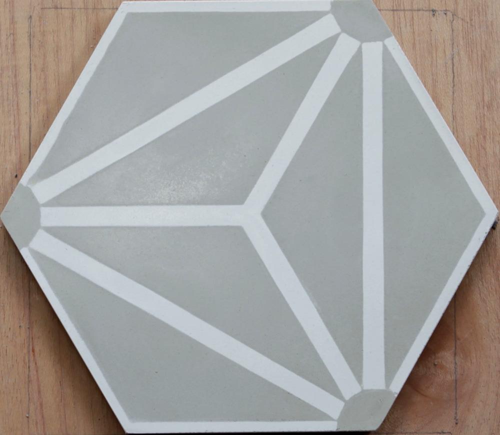 Knox Grey Geometric Tile Cement Tile Riad Tile